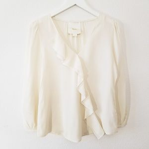 Maeve Anthropologie Ivory Silk Ruffle Blouse Top